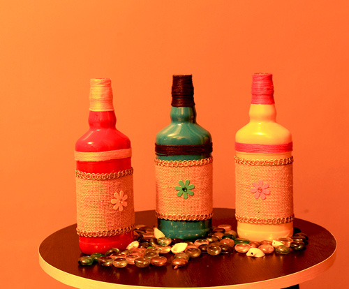 Recycled bottle craft bottles for decor