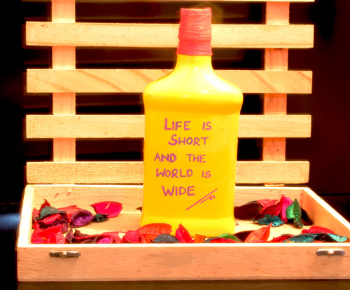 yellow quoted bottle decor