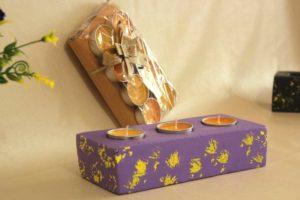 purple Cemented Tea light Candle Holder