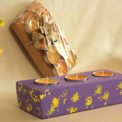 purple Cemented Tea light Candle Holder
