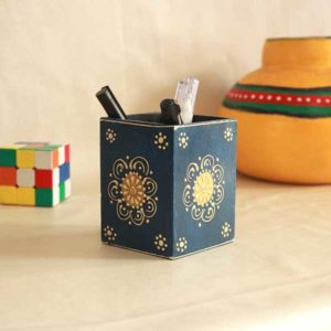 embossed hand painted pen stand