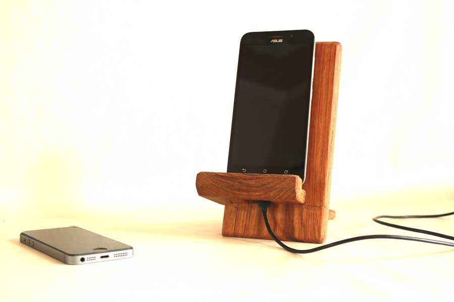 Wooden Phone Stand ~ Wooden phone stand with charger slot my indian brand