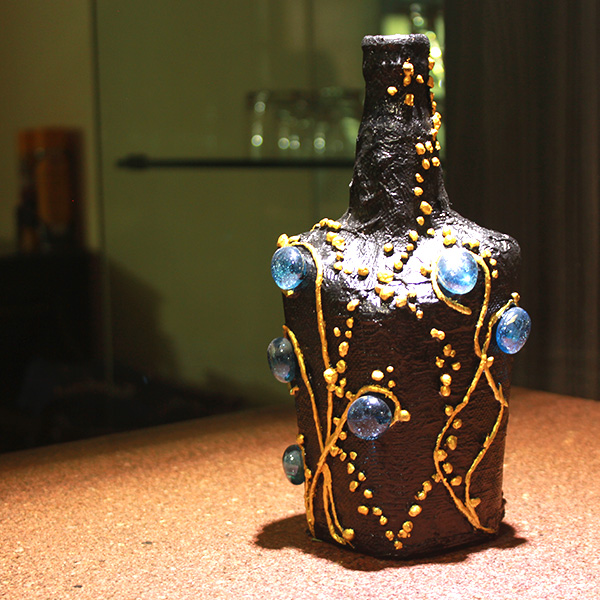 black golden decoupage bottle my indian brand