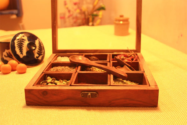 masala box with spoon