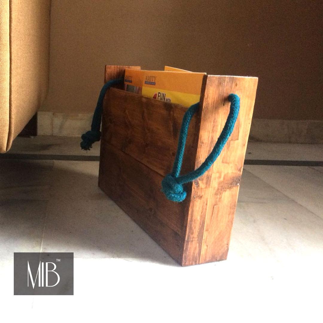 wooden magazine holder for living room my indian brand