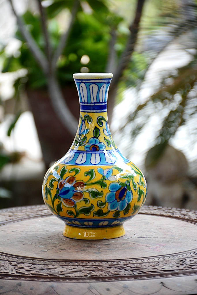 Blue Pottery Yellow Floral Vase My Indian Brand