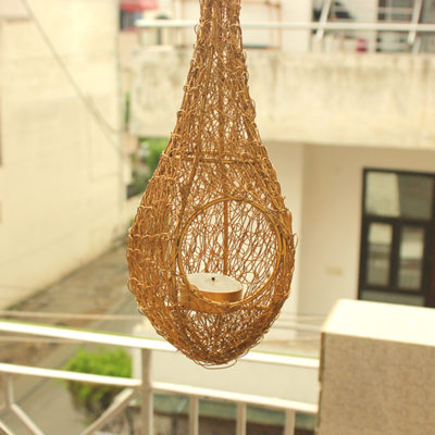 Birdnest Golden Tealiight Holder3