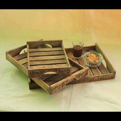 my indian brand exclusive wooden handcarved tray set of 3